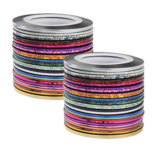 Dadabig 60 Rollen Nageldesign Nail Art Stripes, Tape Sticker Zierstreifen Packung Selbstklebend Glitze Line DIY Nail Art Styling Tools Striping Tape Aufkleber Set in verschiedenen Farben (1mm * 20m)
