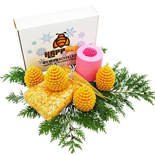 HappBee Limitierte Winter-Edition Set zum Bienenwachskerzen gießen mit Silikonform, Dochten u. 250 g reinem natürlichen Marken Bienenwachs für 4 selbstgemachte Kerzen Tannenzapfen