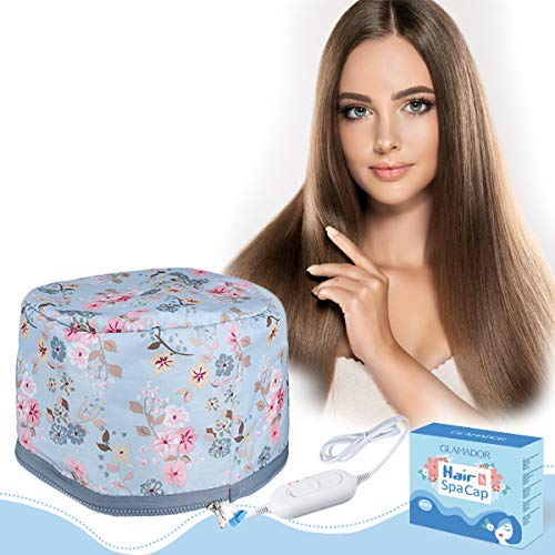 Elektrische Haarpflege Kappe, GLAMADOR Thermal Dampfer Cap, Hair Spa Cap, Hair Care Cap, Haardampfer, Haarkappe für natürliches oder beschädigtes Haar Nourishing Moisturize, Haarpflege zu Hause blau