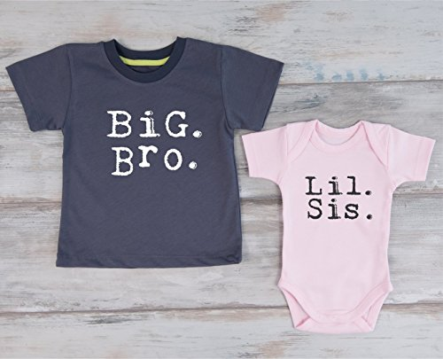 Big Brother Little Sister Shirts, Set of 2 - Graphite Gray T-Shirt and Pink Baby Bodysuit