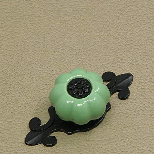 Door Handle 5PCS Pompoen Keramische Knoppen Vintage kastdeur ladekast Dresser Pull Handle Kitchen Furniture Kinderkamer Geschikt for Dwelling House Door handle (Color : Green, Size : 32mm)