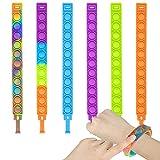 Fidget Push Toys Bracelets 6Pcs Bubble Push Wristband Wearable Sensory Fidget Hand Finger Press Toy Silicone Stress Reliever Toys for Autistic Kids & Adults