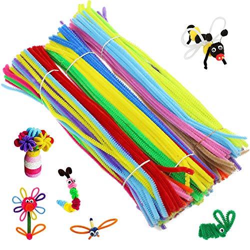 Pfeifenreiniger 300 Stück Chenilledraht Bunte Pfeifenputzer 3 mm×30 cm Biegeplüsch für Kinder zum Basteln Dekorieren DIY Handwerk 27 Farben