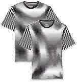 Amazon Essentials Men's Regular-Fit Short-Sleeve Stripe Crewneck T-Shirts, Black/White, XX-Large