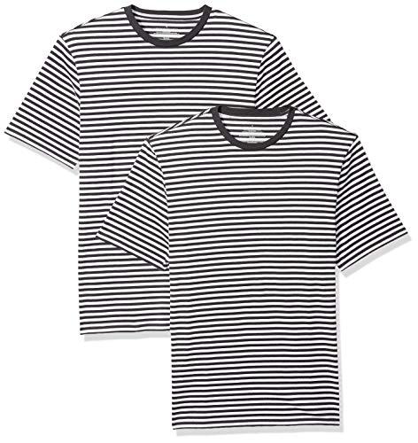 Amazon Essentials - Camiseta de manga corta holgada con cuello redondo y diseño a rayas para hombre, Negro Blanco, Small, (Pack de 2)