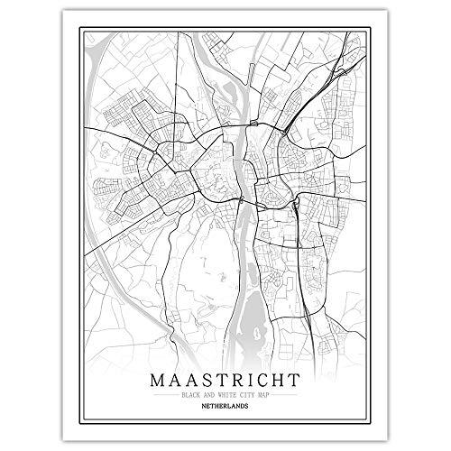 Impresión De Lienzo,Mapa De La Ciudad De Maastricht Holanda Simple Cartel Mural En Blanco Y Negro De Arte Pop Pintura Minimalista Modular Vertical Del Espacio De Oficina Viva Arte Personalizada Deco