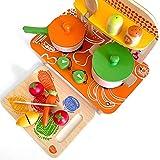 bee SMART Cucina in Legno Set - Portatile, 11 Pezzi compreso Utensili, pentole con coperchi, Orologio e condimenti. Gioco di Imitazione, Cucina Giocattolo in Legno con Accessori Inclusi.