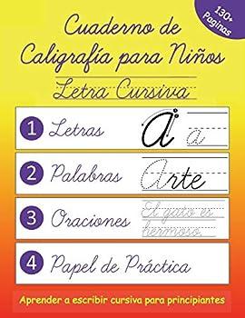Cuaderno de Caligrafía para Niños  Escribir Letra Cursiva en Español  Spanish Edition