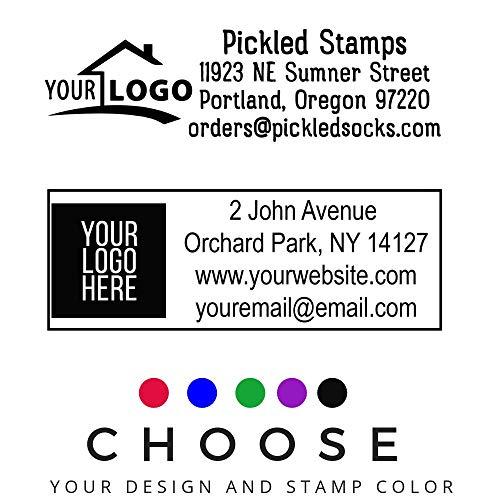 10+ Designs !! Large Logo Self-Inking Stamp 3 Lines or 4 Lines for Your Address, Website Phone Number Stamp or Message Black Ink Stamper/Black Red Blue Green Purple Ink Logo Stamp