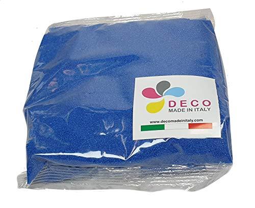 Deco – Sable naturel coloré hypoallergénique et non toxique – Couleur bleue – 0,5 mm – Vendu en sachet de 1 kg – Fabriqué en Italie
