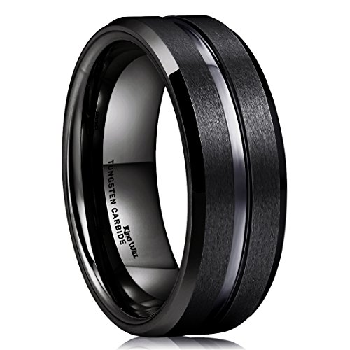 King Will Classic 8mm Black Tungsten Carbide Wedding Band Ring Polished Finish Grooved Center Comfort Fit (11.5)