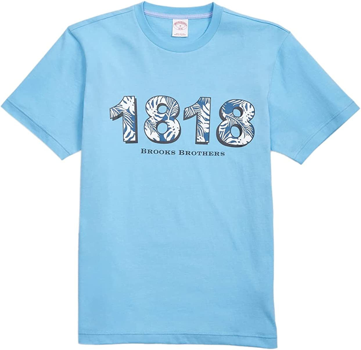 Brooks Brothers Men's 159928 Tropical 1818 Graphic Short Sleeve Tee T-Shirt Light Blue