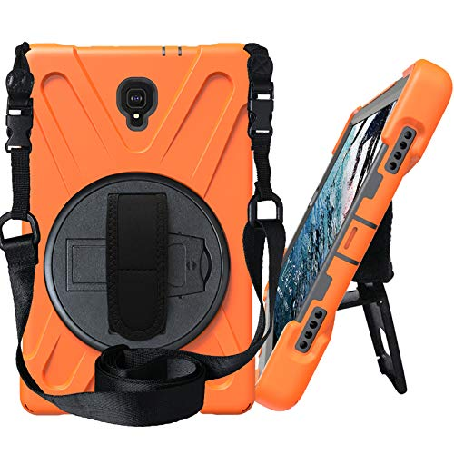 Case for Samsung Galaxy Tab A 10.5 Inch 2018 (Model SM-T590/T595/T597), Hybrid Shockproof Rugged Drop Protection Cover with 360°Rotatable Stand Adjustable Hand/Shoulder Strap,Orange