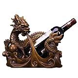 Yadlan Sostenedor del Vino, Botellero Estante para Botellas de Vino de Resina, Dragon Chino Figura Decoración, Regalos para Los Amantes del Vino