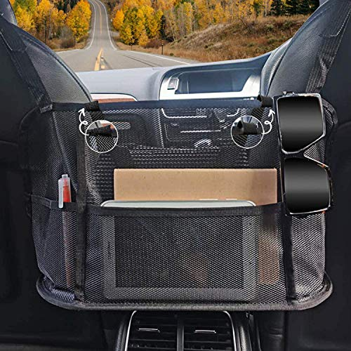 DIOSAVO Upgraded Car Net Pocket Handbag Holder Mesh Organizer with Elastic Protective Belts  Upgraded to Prevent Bag from Moving when Braking  Barrier for Pets or Kids at Backseat Black