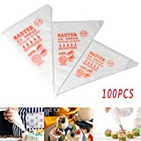 Plastic Pastry Bags, Disposable Icing Piping Bags for Cookie and Cake Decorating, fit All Sized Nozzles Tips Kit and Couplers