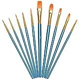 Vicloon Pinceles para Pintura, 10 Piezas of Pinceles de Nylon para acuarela, óleo, cara, dibujo de líneas, Set de Pinceles de Artista para principiantes, profesionales y amantes de la pintura (Azul)