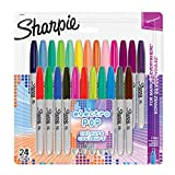 Sharpie marqueurs permanents, pointe fine, Electro Pop & assortiment de couleurs originales, lot de 24