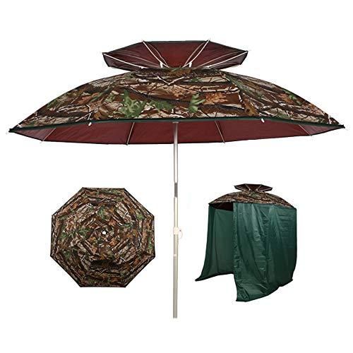 Parasol 2 m / 6.5 pies Playa | Sombrilla de Pesca, inclinación/protección UV/Plegable/con Lados con Cremallera -para jardín/Camping/Patio/Hierba CMXZ