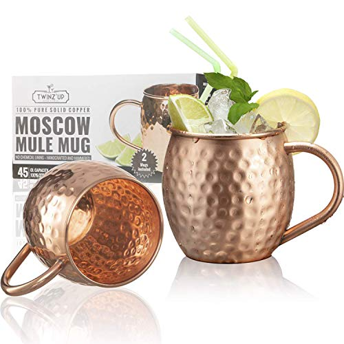 2 x Moscow Mule Copper Mugs - Set van 2 Twinz'Up gehamerde en massieve koperen bekers - XL - geen voering, 100% zuiver koper - gehamerde koperen beker - 45 cL capaciteitsbeker - geweldig voor alle gekoelde dranken