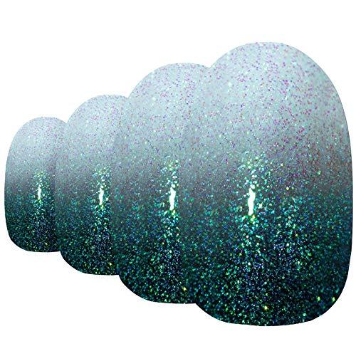 Faux Ongles Bling Art Noir Vert Gel Ombre Ovale 24 Moyen Faux bouts d'ongles acrylique avec colle