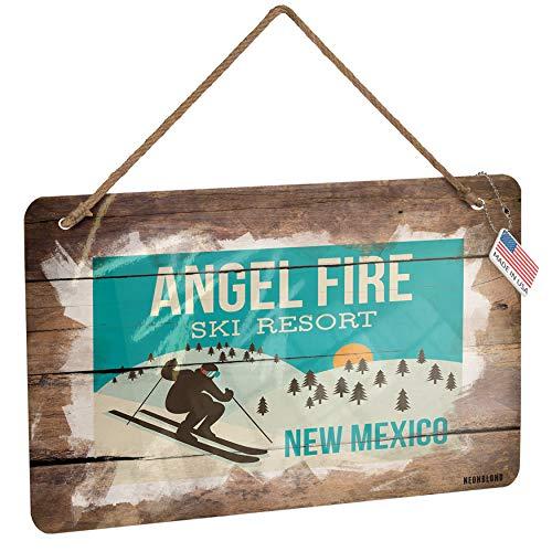 NEONBLOND Metal Sign Angel Fire Ski Resort - New Mexico Ski Resort Christmas Wood Print