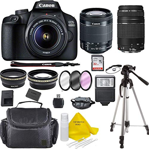 Canon EOS 4000D Digital SLR Camera w/ 18-55 Lens Kit + Canon 75-300 Lens Black w/Accessory Bundle, Package Includes: SanDisk 32GB Card + DSLR Bag + 50'' Tripod+TOPKNOTCH Cloth(International Model)