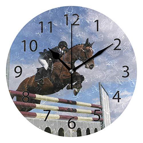 Reloj de pared decorativo para el hogar, oficina, silencioso, de madera, 25,4 cm, para sala de estar, oficina (La bahía grande)
