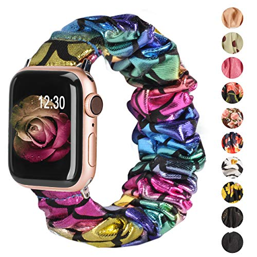 TOYOUTHS Compatible with Apple Watch Band Scrunchies 38mm Cloth Soft Pattern Printed Fabric Wristband Bracelet Women Rose Gold IWatch Cute Elastic Scrunchy Bands 40mm Series 5 4 3 2 1