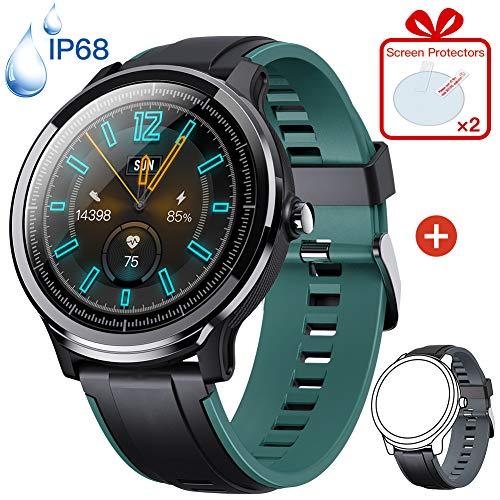 KOSPET Smartwatch, Sportuhr Full-Touchscreen Fitnessuhr IP68 Wasserdicht Fitness Armbanduhr mit Herzfrequenzmesser Schrittzähler SMS-Anrufbenachrichtigung für Herren Damen Android iOS
