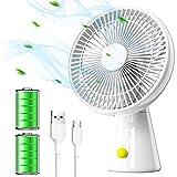 HLHome Ventilador Silencioso Portatil Ventilador de Mesa con 4 velocidades, Oscilación Automática, 10 Horas de Duración de la Batería Ventilador USB para la Oficina, Hogar, Viajar, Acampar (Blanco)