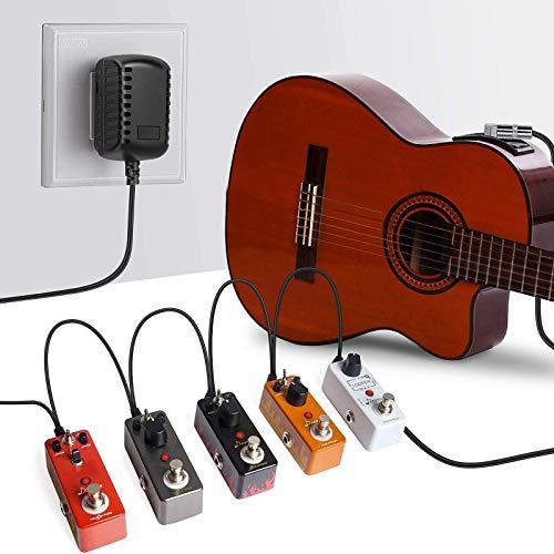 Kit de 5 cables de efecto de guitarra en ángulo recto de 8 vías, cable divisor de cadena de margarita inversa polaridad y cable de clip de batería para pedal de efecto de guitarra