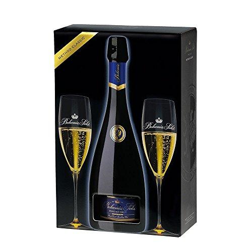 Bohemia Sekt Prestige brut - Geschenkset mit Original Sekt Gläser | Ideal zum Verschenken (1 x 0,75 Liter)