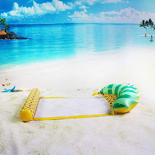 Flotador de piscina hinchable, flotador de lago, silla flotante de sofá de aire, ideal para adultos y niños para fiestas acuáticas y ocio acuáticos (cama de piña 79 x 138 cm)