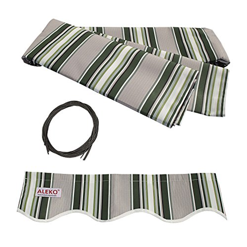 ALEKO FAB16X10MSTRGR58 Retractable Awning Fabric Replacement 16 x 10 Feet Multi-Stripe Green