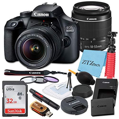 Canon EOS 4000D / Rebel T100 DSLR Camera 18-55mm f/3.5-5.6 Zoom Lens + SanDisk 32GB Memory Card, Tripod, 3 Pieces Filter (UV, CPL, FLD) + ZeeTech Accessory Bundle