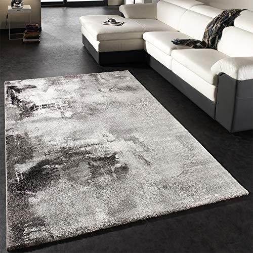 Paco Home Teppich Modern Designer Teppich Leinwand Optik Grau Schwarz Weiss Meliert, Grösse:120x170 cm