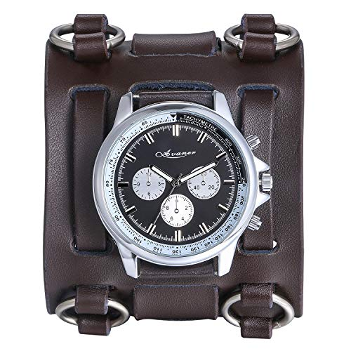 Avaner Mens Retro Steampunk Hip-hop Gothic Brown 74mm Wide Leather Cuff Bracelet Sport Watch Women Big Dial Analog Quartz Wrist Watch