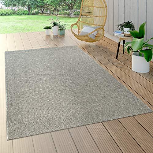 Paco Home Alfombra Interior Y Exterior Tejido Liso Efecto Sisal Aspecto Natural Monocolor Gris, tamaño:160x230 cm