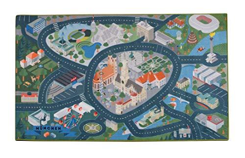 Heimatpiste Spielteppich Stadt München - Straßenteppich für Kinder, Spieleteppich Straße, 100 x 160 cm, Ökotex 100 Zertifiziert, Teppich Kinderzimmer mit Kettelung