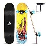 Grsta Skateboard 80 x 20 cm Komplettboard Ahornholz 8-Lagiger, Holzboard ABEC-7 Kugellager, 95A...