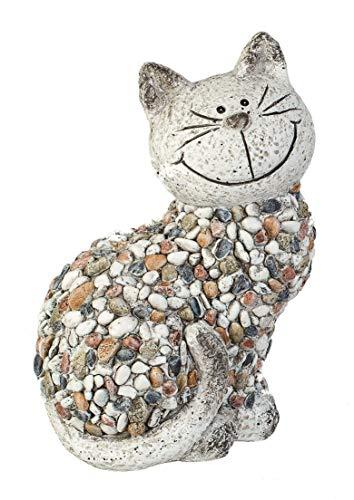 Formano Gartenfigur Katze sitzend Dekofiguren Tierfiguren in Kieselstein-Optik aus wetterfestem Magnesia (bunt - Katze sitzend)