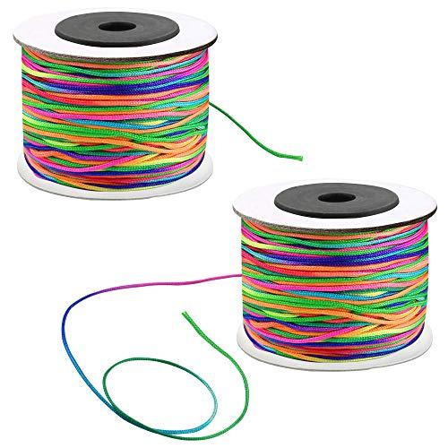 KBNIAN 2 Rollos Cordon Elastico para Pulseras 160 Metros Cuerda para Pulseras Color Arcoiris Cordón Elástico Redondo de Nylon Hilo Elástico para Tejer Manualidades DIY Abalorios Pulsera Collar - 1mm
