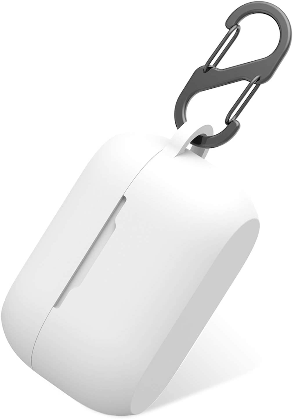 Aotao Silicone Case for Jabra Elite 75t & Jabra Elite Active 75t, Soft and Flexible, Scratch/Shock Resistant Cover with Carabiner for Jabra 75t Earbuds (Elite 75t, White)