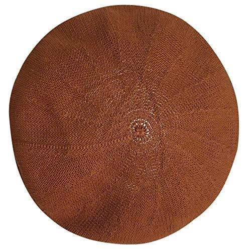 baret lente en zomer meisjes snoep kleur gebreide ademende baret paddestoel hoed M (56-58cm) Baksteen Rood