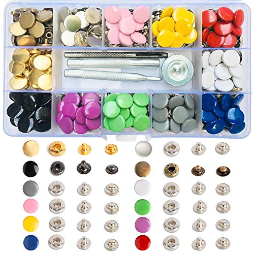 120 Sets Leather Snap Fasteners Kit 12.5mm Metal Button Snaps Press Studs with 4 Pcs Installation Tools for Clothing Thin Leather Jackets Jeans Wears Bracelets Bags 12 Colors