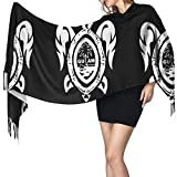Fashion Long Winter Fall Scarfs For Women, Guam Seal In A Tribal Turtle Warm Soft Oversized Shawls Wraps Blanket Scarves Gifts