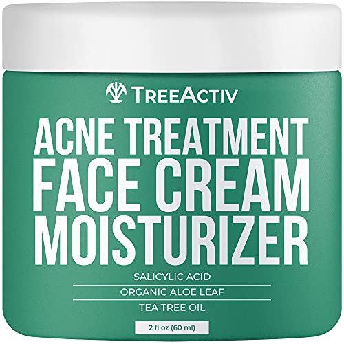 TreeActiv Acne Eliminating Face Cream   Best Natural Extra Strength Fast Acting Treatment for Clearing Facial Acne   Gentle Enough for Sensitive Skin, Adults, Teens, Men, Women   Tea Tree   2 fl oz