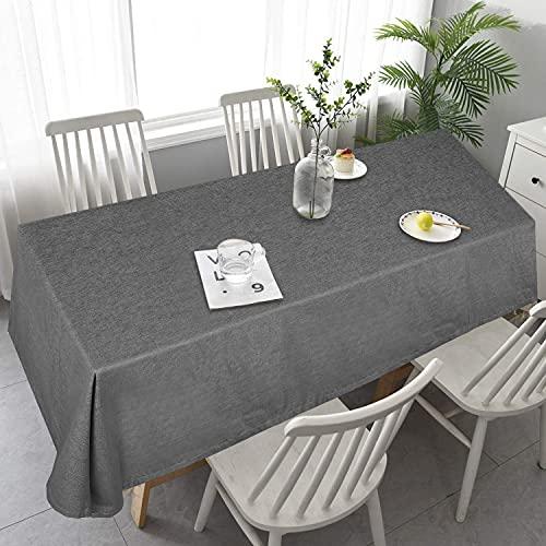 OOYCYOO Tischdecke Leinenoptik Wasserabweisend Tischwäsche pflegeleicht Abwaschbar Tischtücherschmutzabweisend Farbe & Größe wählbar Eckig 130x180 cm Dunkelgrau