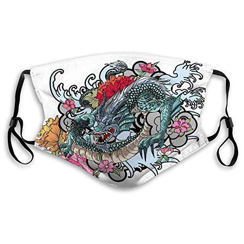 Wasbaar Herbruikbare mond hand getekend draak kleurboek Japansetyle Doodle Geometrische